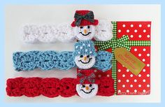 Snowman Headband Crochet pattern with detailed photo tutorial