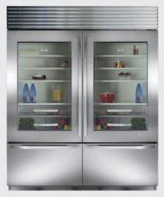 Sub Zero Double Glass Door Refridgerator with Freezer Drawers