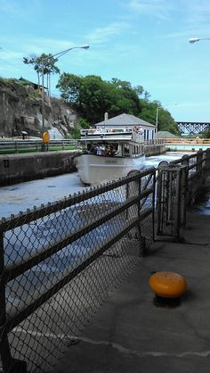 Tour boat on Erie Canal, Lockport New York.