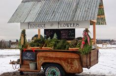 For many years now, I have dreamed of having a little farm stand to sell excess from my garden. A few months ago, I was reading two of my. Fairview Farms, Farmers Market Display, Produce Market, Vegetable Stand, Farm Store, Cottage Garden Design, Flower Cart, Fruit Stands, Christmas Tree Farm