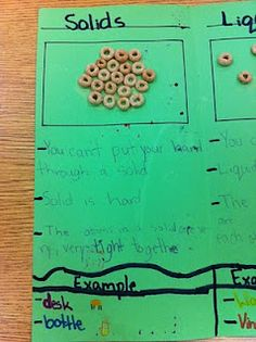 using cheerios (also can you stickers or bingo marker stamp) to illustrate molecules in matter