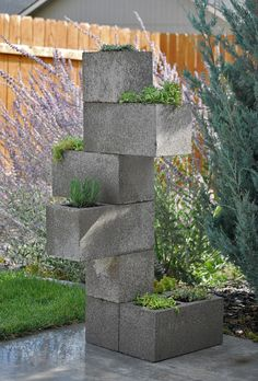 A stand up planter using cinder blocks.