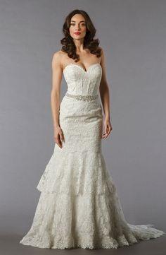 Bridal Gowns: Danielle Caprese Mermaid Wedding Dress with Sweetheart Neckline and Natural Waist Waistline
