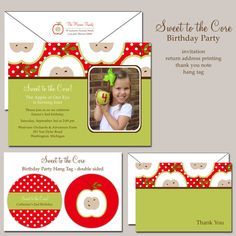 Sweet To The Core Apple Of Our Eye Birthday Invitation Set