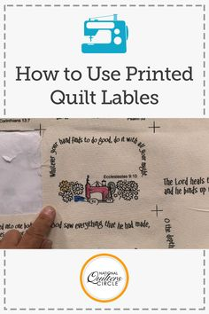 More quilters today are starting to place labels on the back of their quilts. These labels can help us to keep track of when a quilt was given, why it was given, and who it was given to. Kelly Hanson demonstrates how to make a quilt label, and how to prepare these labels for your next quilting project.
