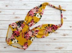 Swimsuit One Piece High Waisted Vintage Style Retro Pin-up Maillot - Mustard Yellow Cream Pink Floral Print Plunge Bathing Suit Swimwear