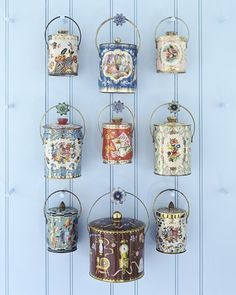 Vintage tin collection display by Marthastewart.com