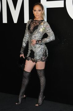The heat is on! Triple threat diva Jennifer Lopez sizzled and sparkled on the black carpet of the Tom Ford Fall 2015 Presentation Party sporting a Spring 2