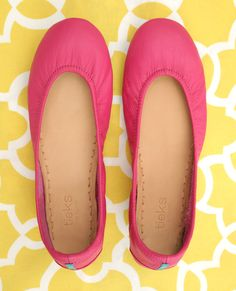 Add a pop of color to your wardrobe with these Italian leather ballet flats! Shop this style and find outfit inspiration here.