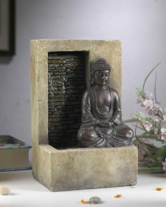 Your moment of Zen starts here with the Jeco Buddha Tabletop Fountain . This meditating Buddha fountain is beautifully sculpted. Tabletop Water Fountain, Cat Water Fountain, Indoor Water Fountains, Indoor Fountain, Outdoor Fountains, Indoor Waterfall Fountain, Fountain Design, Fountain Ideas, Fiberglass Resin