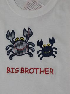 Crab Shirt Toddler Girl Boy Big Brother Big by FiddlersCreekGifts, $19.95