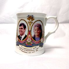 1986 royal wedding of the Duke of York and Sarah Ferguson, fine bone china mug.