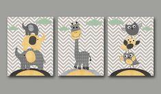 "Nursery art print Childrens Wall Art Baby Boy Nursery Art Kids Print Nursery Decor Boy set of 3 8"" x 10"" Owls giraffe elephants yellow grey"