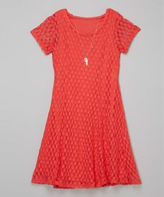 Coral Dot Lace Dress & Necklace #zulily #zulilyfinds