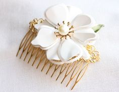 Snow queen - vintage flower hair comb, wedding, bridal, prom, bridesmaid, for her, $40.00