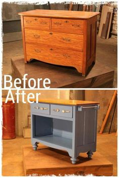 Dresser turned kitchen island. Space below for small kitchen appliances
