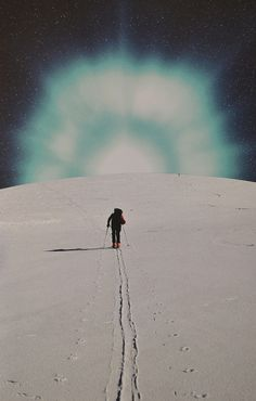 Get Here by Djuno Tomsni, via Flickr,No caminho do Bem,  Get Here Art Print by Djuno Tomsni Artists from France, Man walking on planet's surface footprints trail, alone towards light burst on horizon,