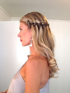 Wedding party hairstyle waterfallbraid highlights curls