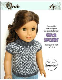 Gwen Sweater Knitting Pattern for 18 Inch Dolls