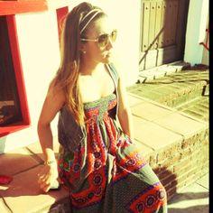 maxi dress && jean vest <3