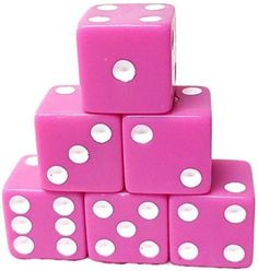 Custom & Unique {Standard Medium 16mm} 6 Ct Pack Set of 6 Sided [D6] Square Cube Shape Playing & Game Dice w/ Rounded Corner Edges w/ Classy Simple Card & Board Game Two Tone Design [Pink & White]