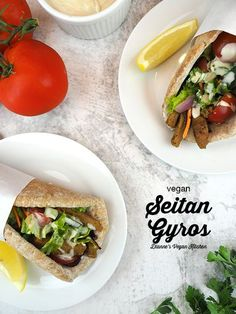 Vegan Gyro – made with seitan, veggies, and tahini sauce all wrapped up in a whole wheat pita – is the perfect lunch! It can enjoyed hot or cold, and it travels well, so it can be packed up and take to the office. This recipe is super easy to make! #vegan #lunch #seitan Vegan Gyros Recipe, Vegan Sandwich Recipes, Gyro Recipe, Delicious Vegan Recipes, Healthy Recipes, Protein Recipes, Vegan Protein, Vegan Lunches, Vegan Meals