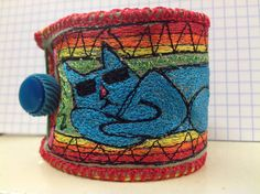threadpainted on linen. Thread Painting, Thread Work, Cool Cats, Cat Art, Beading, Quilts, Embroidery, Stitch, Bracelet