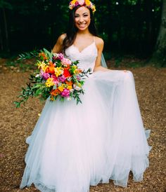How Perfect is this Boho Bride's Whimsical Look? A Bright Floral Bouquet of Greenery matching a Gorgeous Halo Flower Crown compliments her Bohemian Morilee by Madeline Gardner Wedding Dress Style 5416. Wedding Dressses, Bridal Wedding Dresses, Wedding Dress Styles, Boho Wedding, Bridesmaid Dresses, Dream Wedding, Luxury Wedding, Wedding Bouquets, Modern Wedding Flowers