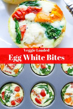Easy veggie egg white bites -Fluffy, nutritious egg whites, heart-healthy spinach, sweet cherry tomatoes and, salty feta cheese. Egg White Recipes, Egg Recipes, Real Food Recipes, Yummy Food, Healthy Recipes, Egg Diet Results, Sin Gluten, Gluten Free, Sweets