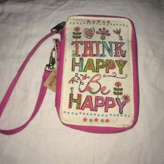 Natural life wristlet New think happy be happy wristlet Bags Clutches & Wristlets