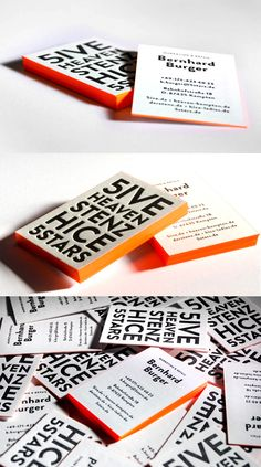 Bright Neon Orange Edge Painted Letterpress Business Card