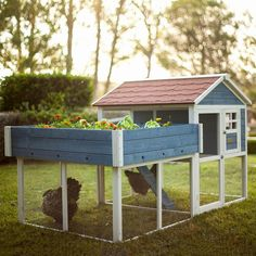 The Advantek Rooftop Garden Chicken Coop has all you need for your feathered friends. This beautiful piece is a garden-hutch mix that provides comfortable livin