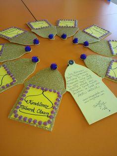 Okul öncesi kandil tebriği Eid Crafts, Diy And Crafts, Arts And Crafts, First Day School, Pre School, Ramadan Decorations, Kids Education, Islamic Art, Preschool Activities