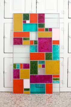 Stained Glass Bring a little color to your windowsill with a faux stained glass panel!Bring a little color to your windowsill with a faux stained glass panel! Making Stained Glass, Faux Stained Glass, Stained Glass Projects, Stained Glass Patterns, Stained Glass Windows, Window Art, Window Glass, Window Panels, Glass Design