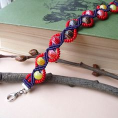 Micro macrame bracelet Violet Red Autumn colors by MartaJewelry