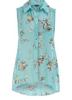Dorothy Perkins bird print sleeveless shirt. Would be so cute with white jeans and a sweet yellow cardigan