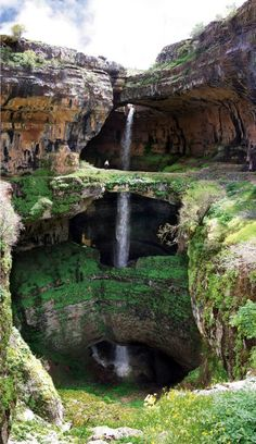 The Baatara gorge waterfall is a waterfall in the Tannourine, Lebanon. The waterfall drops 255 metres into the Baatara Pothole, a cave of Jurassic limestone located on the Lebanon Mountain Trail.