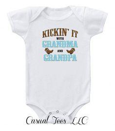 Kickin' It With Grandma and Grandpa Baby Onesie by CasualTeeCo, $14.00