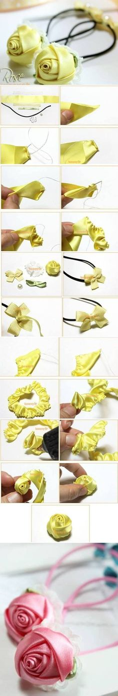 DIY Simple Quick Satin Ribbon Rose rose ribbon diy satincrafts DIY home made easy - Diy and crafts interests Satin Ribbon Roses, Ribbon Art, Diy Ribbon, Fabric Ribbon, Ribbon Crafts, Flower Crafts, Fabric Flowers, Diy Crafts, Craft Flowers
