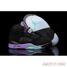 Air Jordan Femme 2013 Nike Air Jordan 5 Femmes Noir Violet Vert Chaussure  Basket Nike, 4a0c14779c02