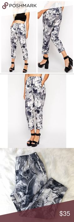 ASOS Peg Trousers in Printed Marble Scuba Super cute and on trend💗 Size 8. Excellent pre-owned condition! Asos Pants Trousers