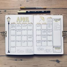 20 Monthly Spread Layouts for your Bullet Journal - Ideas and Inspiration — Square Lime Designs 30 Monthly Spread Layouts for your Bullet Journal - Ideas and Inspiration - 2020 Bullet Journal With Calendar, April Bullet Journal, Bullet Journal Monthly Spread, Bullet Journal Notebook, Bullet Journal Themes, Bullet Journal Inspiration, Bullet Journals, Bujo Monthly Spread, Bullet Journal School