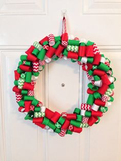 Christmas Ribbon Wreath on Etsy, $42.00