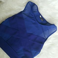 Royal Blue Crop Top Mesh + Fabric. Great for a night out. The brand is Silence+Noise. Urban Outfitters Tops Crop Tops