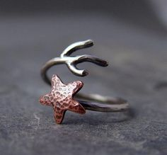 Copper Starfish Coral Branch Adjustable Ring, Starfish Ring, Made To Order, Ocean Jewelry, Gifts Under 40.00, Handmade