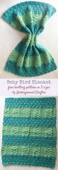 Baby Bird Blanket, free knitting pattern in Lion Brand Heartland in preemie, stroller, and baby blanket sizes by Underground Crafter | The Baby Bird Blanket in Lion Brand Heartland is a beginner-friendly textured, striped blanket in preemie, stroller, and baby blanket sizes. It combines two simple stitch patterns to create the perfect welcome for a little one. This pattern is part of the a Knit-a-Long with Lion Brand and Knots of Love. via @ucrafter