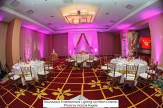 Beautiful wedding at Hilton Orlando. DJ & LED Lighting by Soundwave Entertainment, coordination by Blush by Brandee Gaar, floral by Occasions by Shangri-la, photo by Victoria Angela