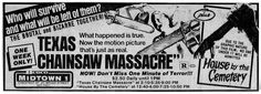 Texas Chainsaw Massacre / House by the Cemetery double feature newspaper ad