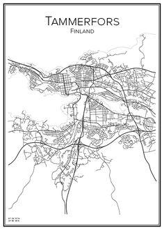 Stadskarta över Tammerfors