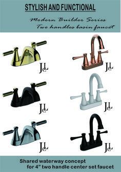 Modern Builder Series Two handles basin faucet Lavatory Faucet, Basin, Handle, Stylish, Modern, Trendy Tree, Door Knob